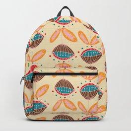Mid Century Beige Floral Pattern Backpack