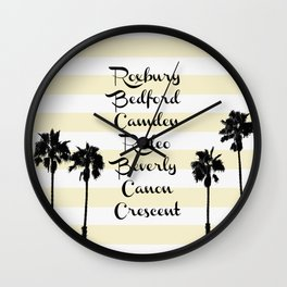 Beverly Hills Street Names Palm Trees Yellow Stripes Wall Clock