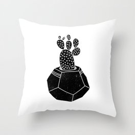 Geometric Cactus planter house plant linocut plant lady black and white hipster plants Throw Pillow