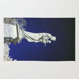 Infrared madonna and child statue Rug