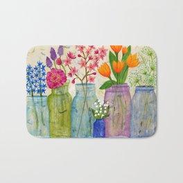 Springs Flowers in Old Jars Bath Mat