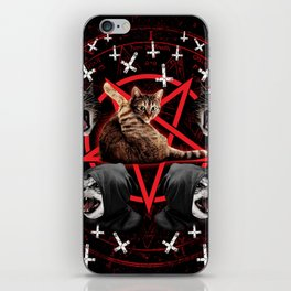satanic cat pentagram death black metal band exorcist iPhone Skin