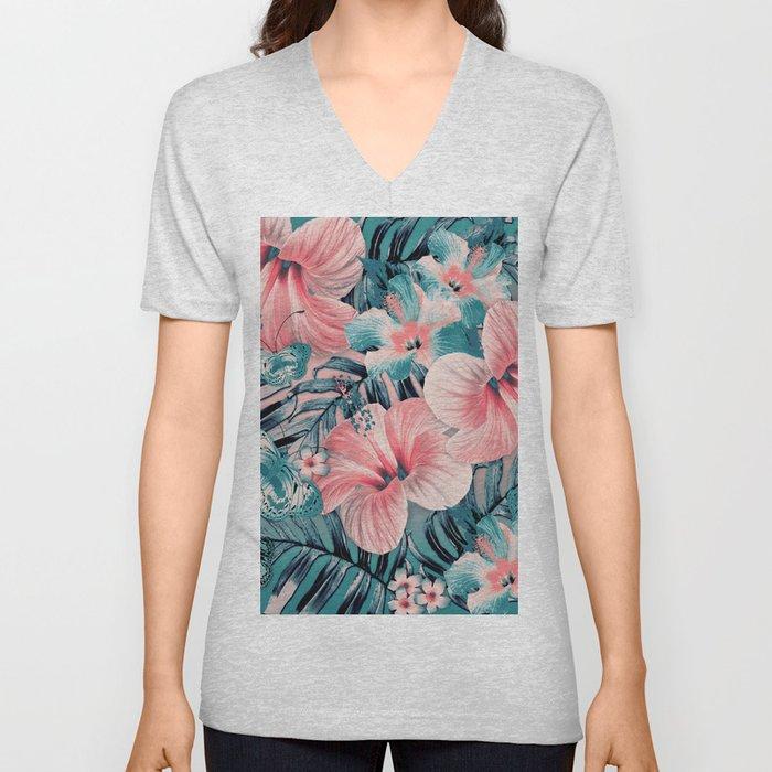 Vintage Jade Coral Aloha Unisex V-Neck