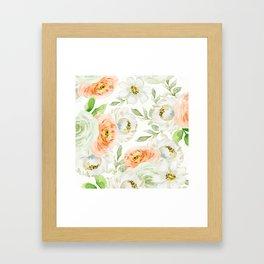 Big Peach and White Flowers Framed Art Print