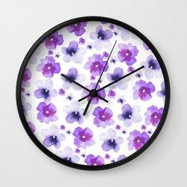 Modern purple lavender watercolor floral pattern Wall Clock