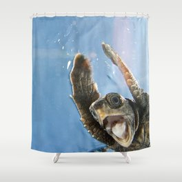 Screaming Turtle Shower Curtain