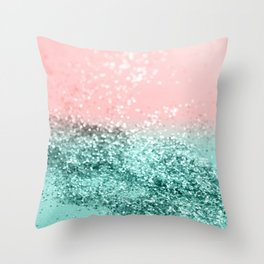 Summer Vibes Glitter #4 #coral #mint #shiny #decor #art #society6 Throw Pillow