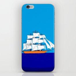A Clipper Ship at Sunset, Pink clouds and Sun, Nautical Scene iPhone Skin