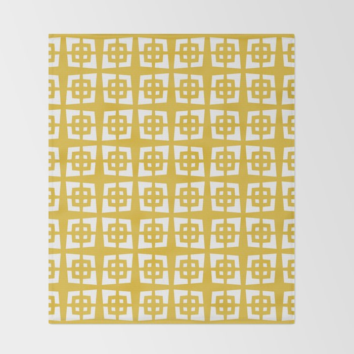 Mid Century Modern Pattern 271 Mustard Yellow Throw Blanket