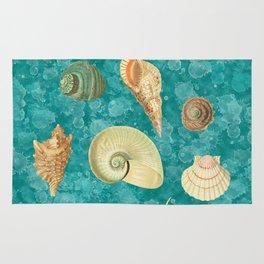 Dancing Shells Turquoise Watercolor Splashes Rug