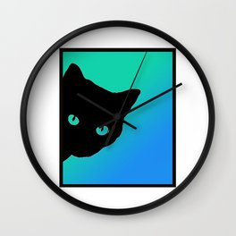 Black Cat Blue Green Tshirt Wall Clock