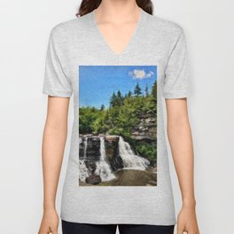 Blackwater Falls, West Virginia Unisex V-Neck