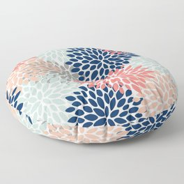 Floral Bloom Print, Living Coral, Pale Aqua Blue, Gray, Navy Floor Pillow