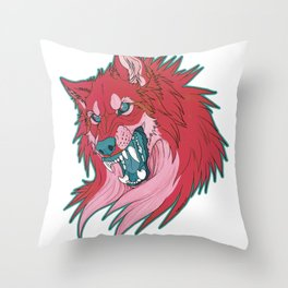 Ravewolf -Teal and Berry Throw Pillow