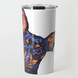 Miniature Pinscher Dog Portrait bright colorful Fun Pop Art Dog Painting by LEA Travel Mug