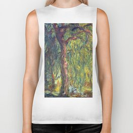 1918-Claude Monet-Weeping Willow-99 x 120 Biker Tank