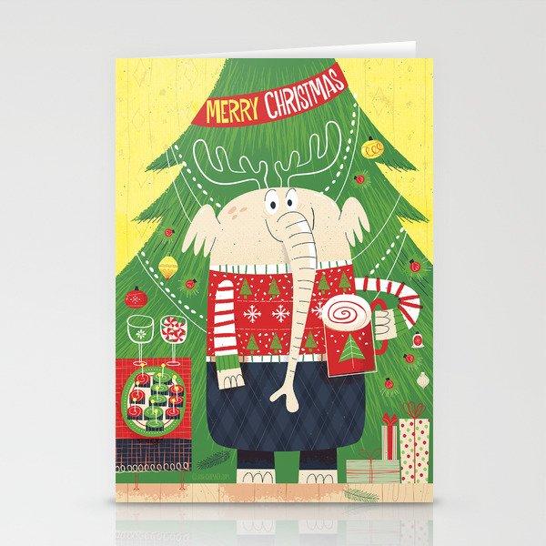 Christmas Elephant Stationery Cards by joshcleland   Society6