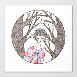 A girl walking through a forest Canvas Print