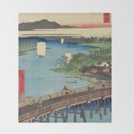 Big Bridge In Edo City. Ukiyoe Landscape Throw Blanket