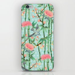 Bamboo, Birds and Blossom - soft blue green iPhone Skin