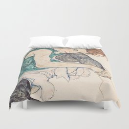 SEATED WOMAN WITH BENT KNEE - EGON SCHIELE Duvet Cover