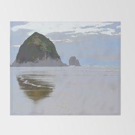 Illustrated Haystack Rock Throw Blanket
