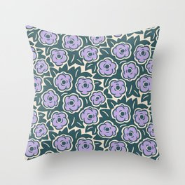 Flower Bouquet Pattern Lavender and Green Throw Pillow
