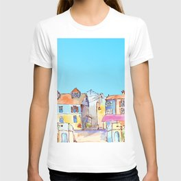 Pretty colorful houses street in old town with blue sky T-shirt