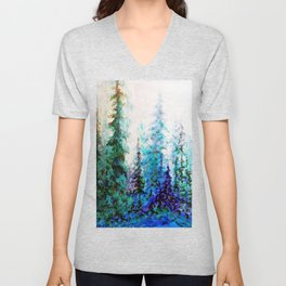 Mountain Landscape Pines In Blue-Greens-Purple Unisex V-Neck