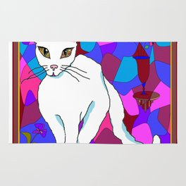 Pretty White Kitty in the Window - Stained Window Rug