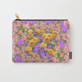 PINK & YELLOW SPRING ROSE GARDEN LILAC PURPLE VIGNETTE Carry-All Pouch
