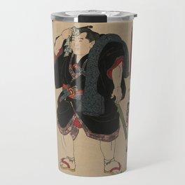 Sumo Wrestler Japanese Woodcut Block Print Travel Mug
