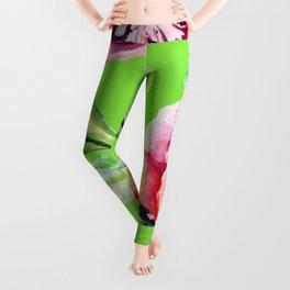 Pink Peonies On Bright Spring Green Leggings