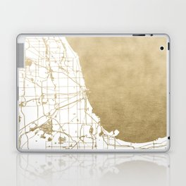 Chicago Gold and White Map Laptop & iPad Skin