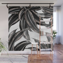Tropical Leaves with Rose Gold Glitter #1 #shiny #tropical #decor #art #society6 Wall Mural