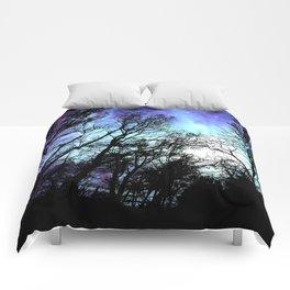 black trees periwinkle blue aqua space Comforters