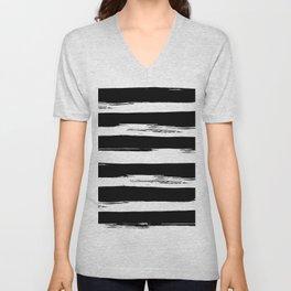 Paint Stripes Black and White Unisex V-Neck