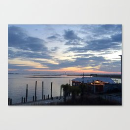 Sunset at American Fish Company - Safe Havens Ivan's in Southport NC Canvas Print