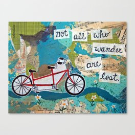 Not all who Wander are Lost - Red Tandem Bicycle Canvas Print