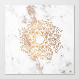 Copper flower mandala - marble Canvas Print