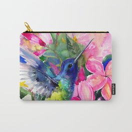 Hummingbird and Plumerias Carry-All Pouch
