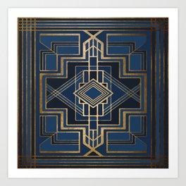 Art Deco Square Mondays In Blue Art Print