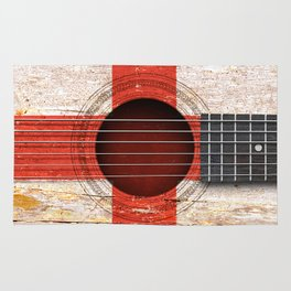Old Vintage Acoustic Guitar with English Flag Rug