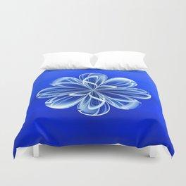 White Bloom on Blue Duvet Cover