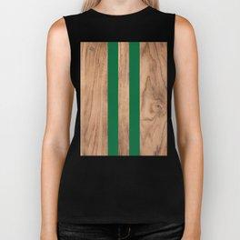Wood Grain Stripes - Green #319 Biker Tank