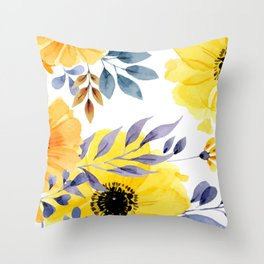 FLOWERS WATERCOLOR 10 Throw Pillow