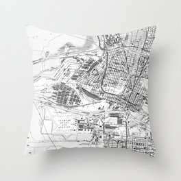 Vintage Map of Oakland California (1959) BW Throw Pillow