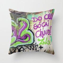 """São Paulo Graffiti """"Do Ceu Só Cai Chuva"""" Throw Pillow"""