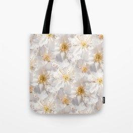 White Cherry Blossoms Pattern Tote Bag