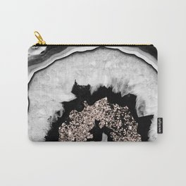 Gray Black White Agate with Rose Gold Glitter #1 #gem #decor #art #society6 Carry-All Pouch